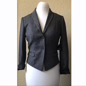 Tahari charcoal gray Cardona blazer with peplum